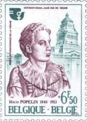 Le timbre Marie Popelin, palais de justice à l'arrière-plan